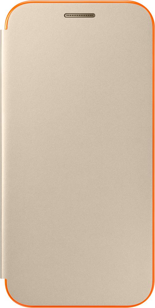Чехол-книжка Samsung Samsung Galaxy A3 2017 Neon Flip Cover Gold EF-FA320 samsung ef wa710pzegru для galaxy a7 2016 flip wallet pink gold