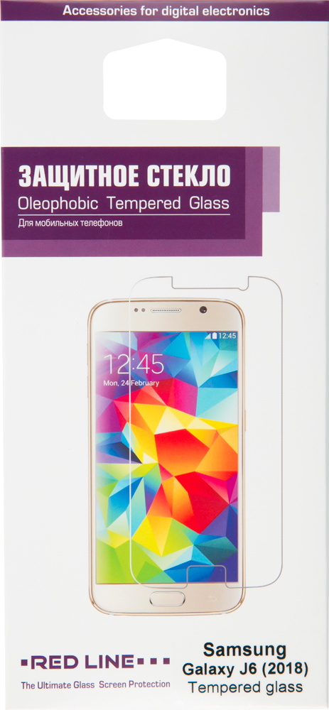 Стекло защитное RedLine, Samsung Galaxy J6 2018 0.2 мм прозрачное
