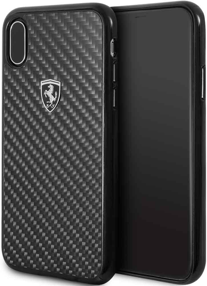 Клип-кейс Ferrari iPhone ХS карбон Black клип кейс ferrari iphone хs кожа black
