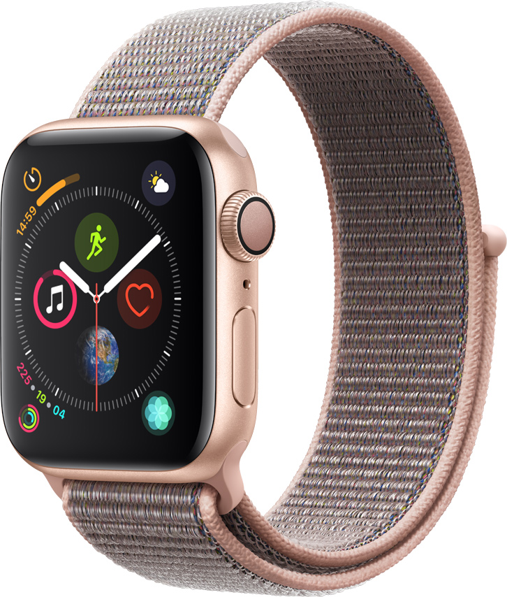 Часы Apple Watch Series 4 40 мм корпус из алюминия золото + спортивный ремешок розовый нейлоновый (MU692RU/A) цена