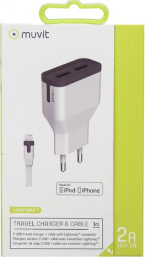 СЗУ Muvit MUPAK0289 2USB+Lightning MFI-USB 2А White gm cc 158 2usb