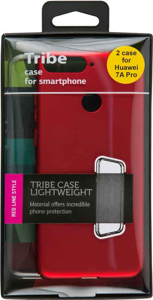 Набор чехлов Tribe Honor 7A Pro силикон+пластик прозрачный/красный