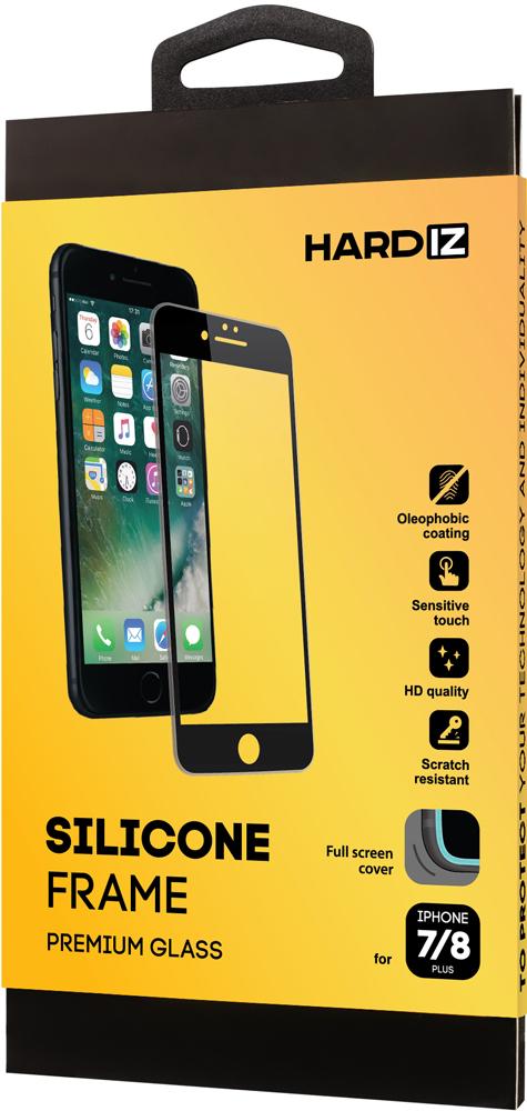 Стекло защитное Hardiz iPhone 8/7 Plus Silicone Frame черная рамка фото