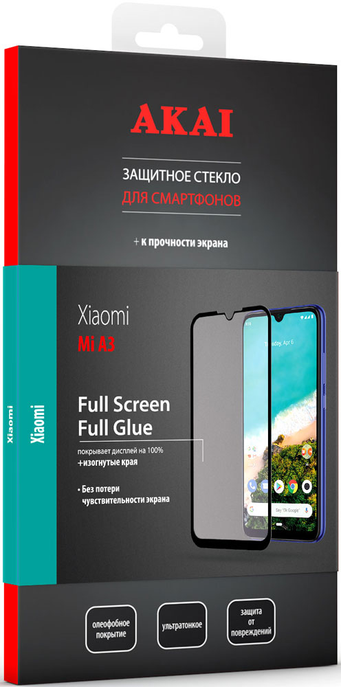 Стекло защитное Akai Xiaomi Mi A3 2.5D черная рамка фото