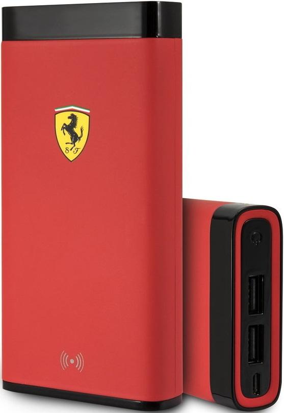 Внешний аккумулятор Ferrari 10000 mAh с функцией беспроводной зарядки Red автомобильный держатель с функцией беспроводной зарядки shun zao electric wireless car charger