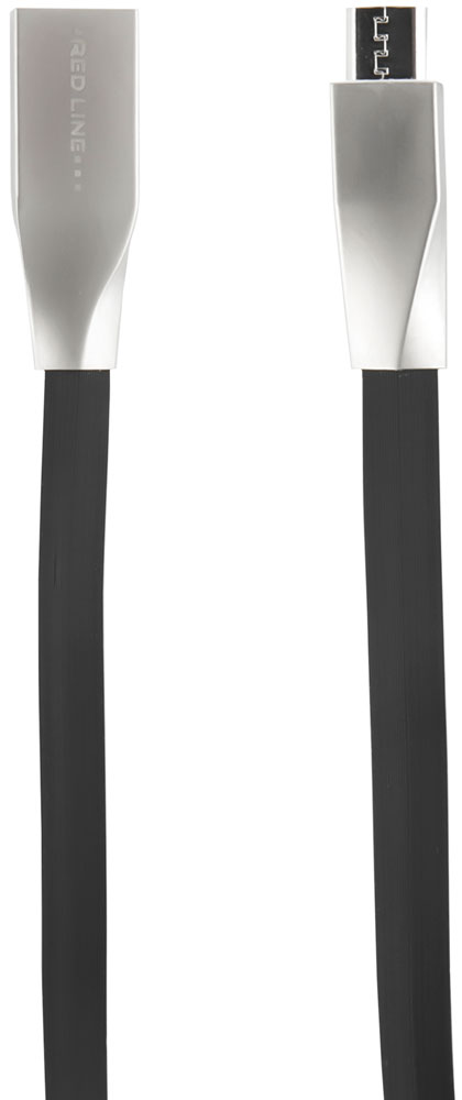 Дата-кабель RedLine USB-microUSB плоский Black
