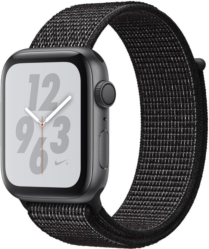 Часы Apple Watch Nike+ Series 4 44 мм корпус из алюминия серый космос + спортивный ремешок Nike черный нейлоновый (MU7J2RU/A) умные часы apple watch series 4 44 мм корпус из золотистого алюминия спортивный браслет цвета розовый песок
