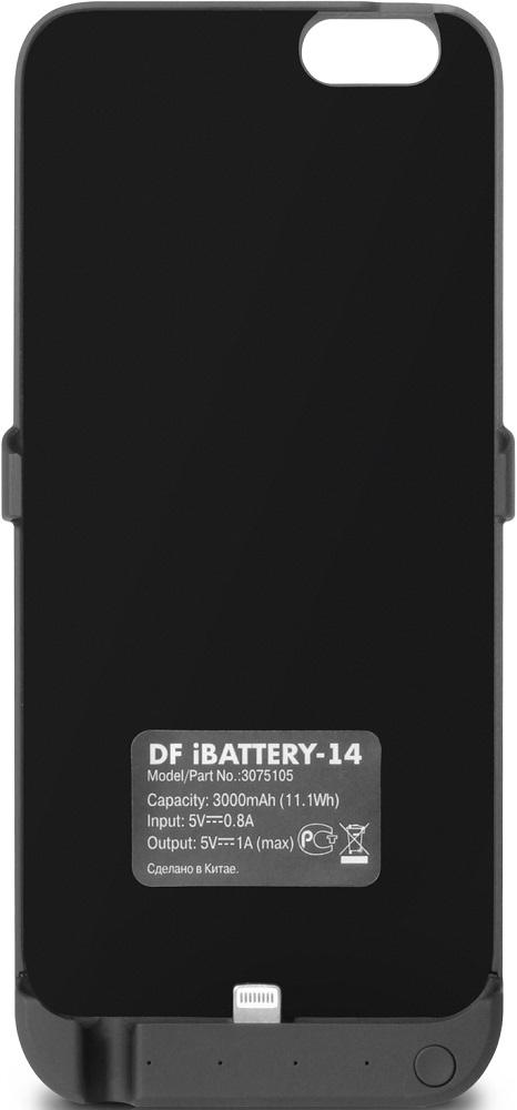 Чехол-аккумулятор DF iBattery-14 для Iphone 6/6S/7 Black чехол аккумулятор df ibattery 14s для iphone 6 iphone 6s iphone 7 розовое золото