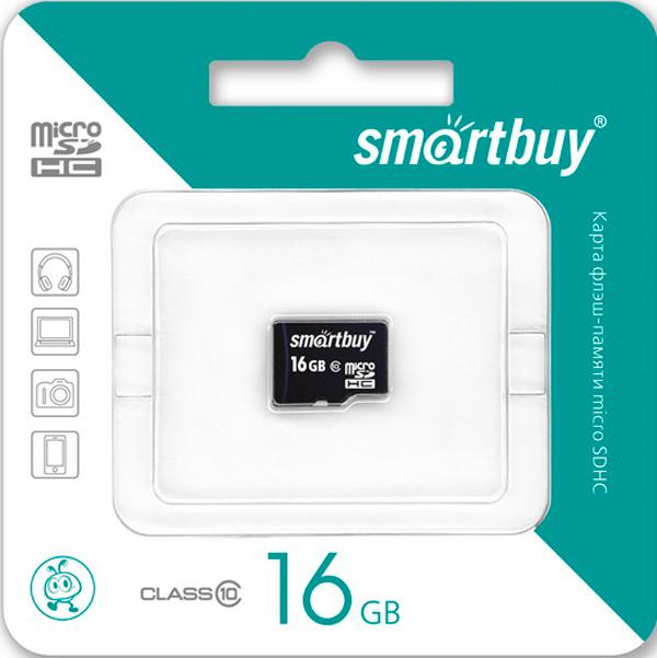Карта памяти MicroSDHC Smartbuy 16Gb Class10