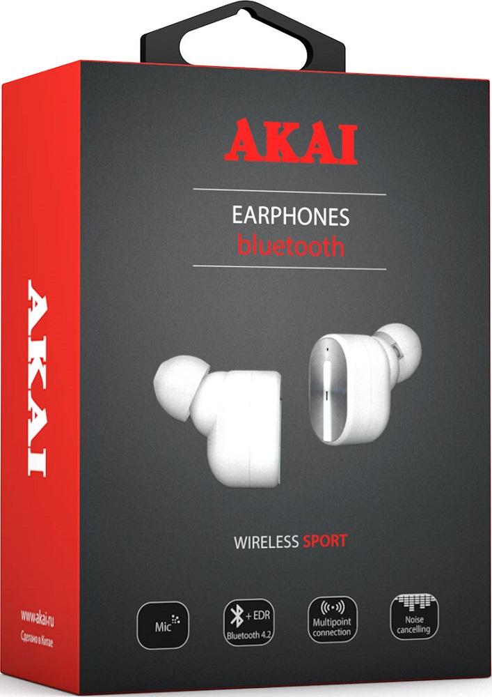 Беспроводные наушники с микрофоном Akai TWS HD-221 White
