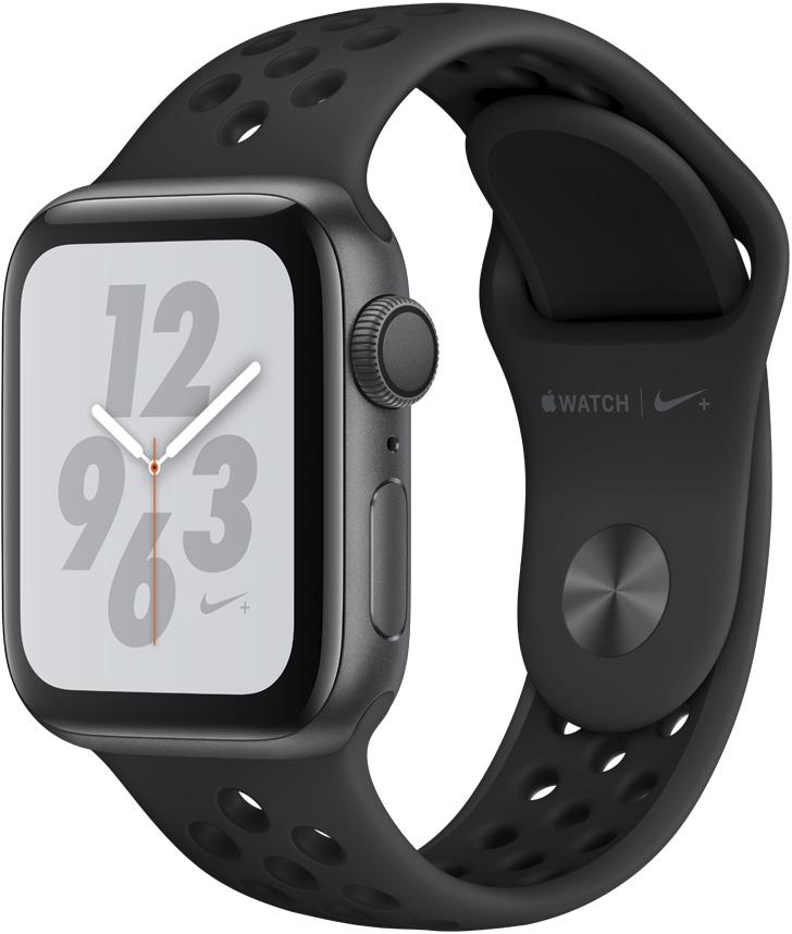 Часы Apple Watch Nike+ Series 4 40 мм корпус из алюминия серый космос+спортивный ремешок Nike черный (MU6J2RU/A) умные часы apple watch series 4 44 мм корпус из золотистого алюминия спортивный браслет цвета розовый песок
