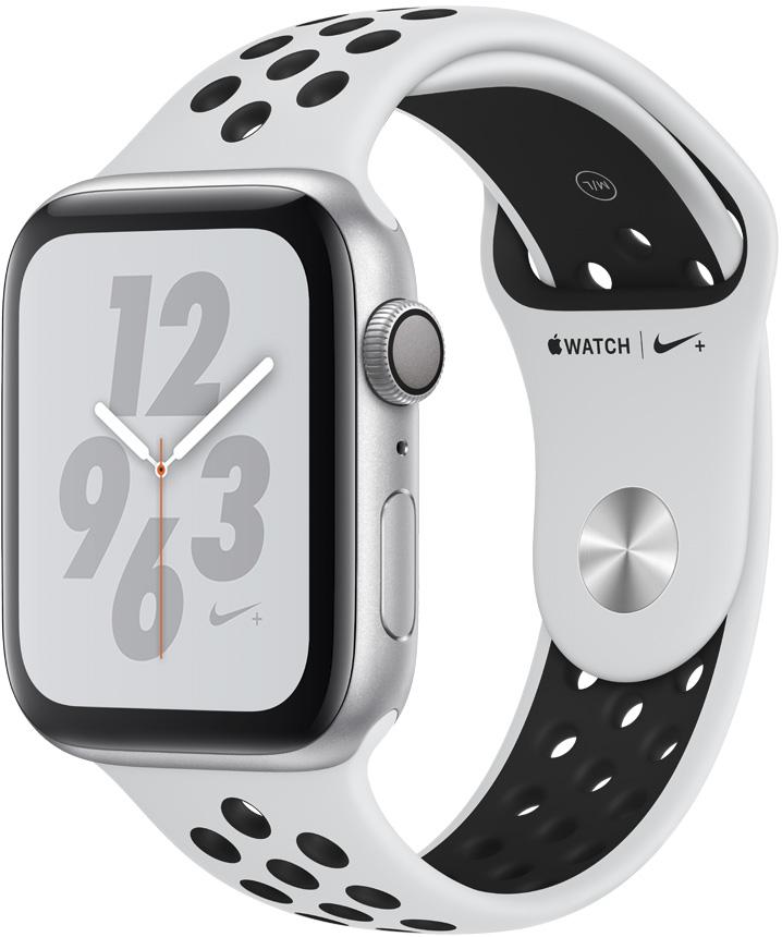 Часы Apple Watch Nike+ Series 4 44 мм корпус из алюминия серебряный + спортивный ремешок Nike платина/черный (MU6K2RU/A) умные часы apple watch series 4 44 мм корпус из золотистого алюминия спортивный браслет цвета розовый песок