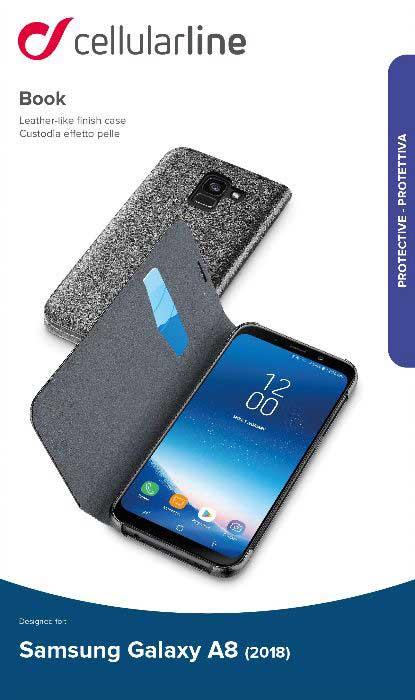 Чехол-книжка Cellularline Samsung Galaxy A8 Black чехол для samsung galaxy a8 cellularline ink полупрозрачный черный
