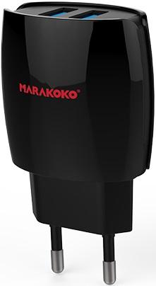 СЗУ Marakoko MA16 2 USB+кабель microUSB 2А Black сзу samsung usb microusb 1a eta0u80ebegstd