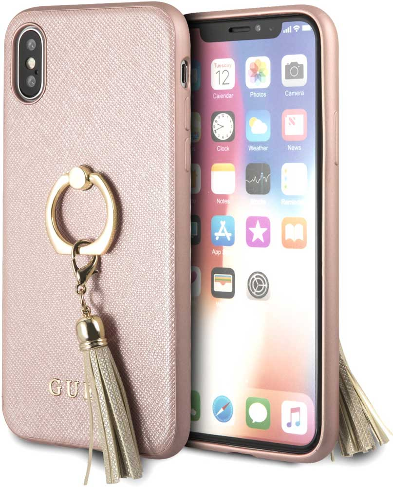 Клип-кейс Guess Apple iPhone X с кольцом Pink цена и фото